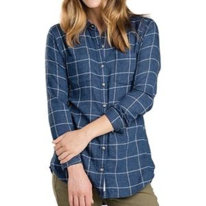 Toad & Co Cairn Navy Plaid Long Sleeve Button Down
